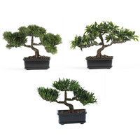 """Nearly Natural 12"""" Bonsai Silk Plant Collection (Set of 3)"""