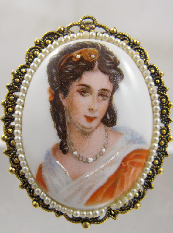 Cameo Brooch Seed Pearl Portrait Porcelain