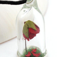 Enchanted red rose terrarium glass dome pendant with green flocked grass and fallen petals- Valentine's rose jewellery