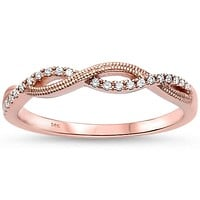 14K Rose Gold Natural Mined Diamond Twist Wedding Band