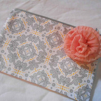 Grey zippered pouch - scroll print cotton fabric - makeup bag - small cosmetic purse with grey zipper - girls pencil case - yellow lined -