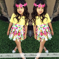 Multicolored Two Piece Girls Summer Dress- Yellow and Floral