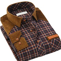 Autumn New Men Casual Plaid Shirts Long Sleeve Patchwork Classic Fit Collar Button-Up Fashion Clothing Men Dress Shirts