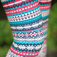 Red/Teal Nordic Flower Leggings