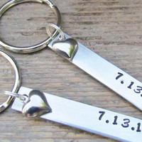 SET of 2 Key Chains Date Couples Gift for Her Hand Stamped Aluminum Metal Keychain Key Ring Wedding Anniversary Gifts Heart Charms