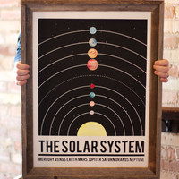 The Solar System - hand pulled large screen print 18x24
