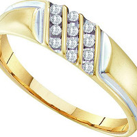 Diamond Fashion Mens Ring in 10k Gold 0.12 ctw