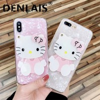Cute Mirror Cartoon 3D Hello Kitty Conch Shell Silicone Phone Case For Iphone 8 7 Plus X 6 S Plus Back Cover Luxury Lovely Cases