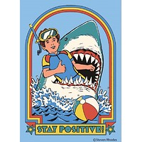 Stay Positive Shark Rectangular Magnet | '80s Children's Book Style Satirical Art