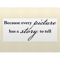 BECAUSE EVERY PICTURE HAS A STORY TO TELL Vinyl wall quotes family lettering ...