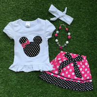 girls boutique clothes spring 2016 girls summer clothes short sleeve  bay girls minnie top withaccessories