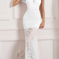 White Ruched Fishtail Lace Overlay Maxi Dress
