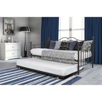 Twin Size Daybeds With Trundle Bed In Brushed Bronze Metal Finish