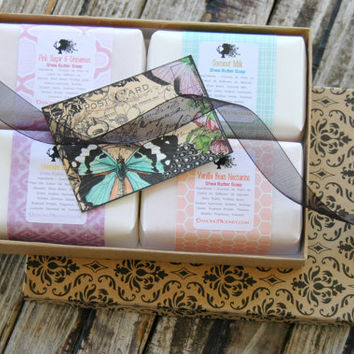 4 Bar Soap Gift Set . FOR Women . Bridesmaid Gifts . Soap Gift Box . Shea Butter Soaps Set . Best Friend's Birthday . Gift Ideas