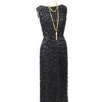 1960s Evening Gowns-60's Vintage Black Sequin Dress