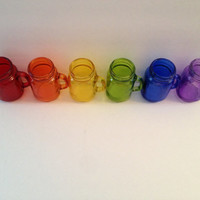 Set of Six Rainbow Mason Jar Shot Glasses
