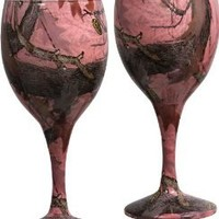 Pink Camo Wine Glasses (Set of 2)
