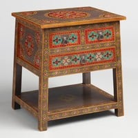 Floral Painted Wood 2 Drawer Accent Table