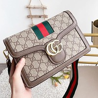 GUCCI Women Fashion Leather Stripe Shoulder Bag Crossbody Satchel