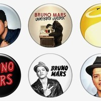 "Set of 6 New Bruno Mars 1.25"" Pinback Button Badge Pin"