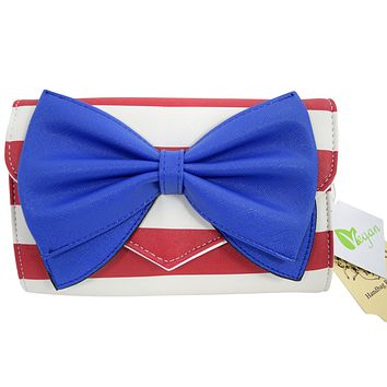 Bow Wallet Clutch Purse - Striped Clutch Wallet Crossbody Purse with Oversized Bow