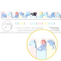 Tiny Dolphin and Killer Whale Shaped Sea Creatures Themed Sticky Post-it Memo Bookmark Tabs