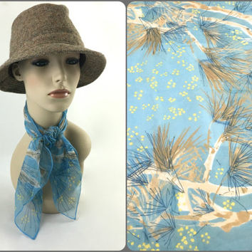 Vintage Vera Neumann Silk Chiffon Neck Scarf Light Blue, Yellow and Tan Stylized Branches Lucky Ladybug Signature Sky Blue Sheer Head Scarf