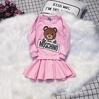 Moschino Toddler Little Girls Clothing Set Cute Long Sleeve T-Shirt and Skirt