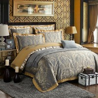 Cool IvaRose Luxury Jacquard Silk Cotton King Queen Size Bedding Set Duvet cover Cotton Bedsheet Cusion Pillow covers Bed set 4/6 PcAT_93_12