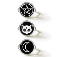 Grunge Witch 3 Ring Set - Familiar Cat Pentagram Crescent Moon - Alternative Fashion Jewelry
