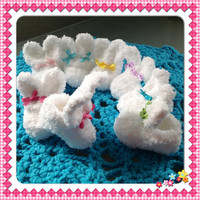 Fluffy Bunny Rabbit Slipper Style Baby Booties Fuzzy Easter Newborn Infant Shoes your choice of Ribbon Colors, Many Sizes