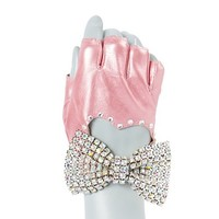 Metallic Faux Leather Fingerless Glove with Rhinestone Bow  | Claire's