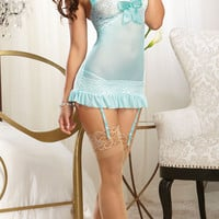 Light Blue Ruffled Chemise Lingerie