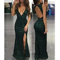 2016 Women Fashion Sexy Sequin dress Evening Party Deep V Neck Sleeveless Backless split dress Celebrity Prom Long Dress vestido