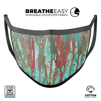 Abstract Wet Paint Mint Rustic - Made in USA Mouth Cover Unisex Anti-Dust Cotton Blend Reusable & Washable Face Mask with Adjustable Sizing for Adult or Child