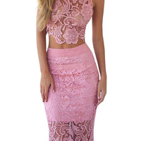 Crochet Lace Co-ord In Pink