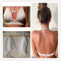 Feelingirl handmade crochet hook Bikini sexy backless wrapped chest knitting sports bra beach = 1696904772