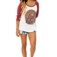 Obey Tee Cosmic Blues Baseball Raglan in Burnt Henna Red