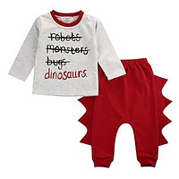 Children clothing Sets Baby boys dinosaur Sets Kids Clothes Top T-shirt+Pant Outfits Set Costume