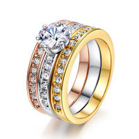18K Rose Gold Plated 3-Rings 3-Color Crystal Ring Wedding Engagement Love Promise