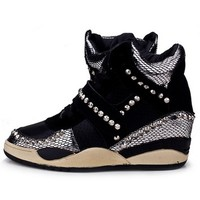 Women Snakeskin Lace-up Beaded Sneakers Black Wedges 55% off retail