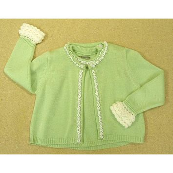 Trish Scully Girls Sweater Set with Pearls 12m Toddler Green/White -- Used