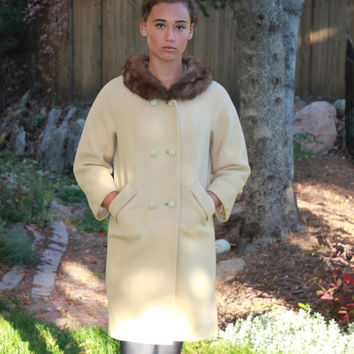 1960s Mod Coat,  Vintage Fur Collar Coat,  Beige Coat Brown Collar,  Boho Retro Clothing,  Mid Century Clothes,  50s 60s Clothing,  Size S M
