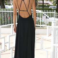 Morgan Low Back Maxi Dress - Black