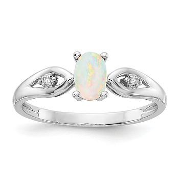 14k White Gold Opal and Real Diamond Ring
