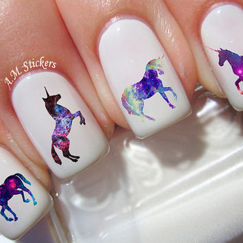 40 Galaxy Unicorn Nail Decals