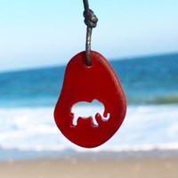 Sea Glass Carved Elephant Necklace by Wave of Life