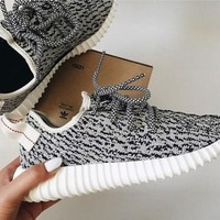 "Gray Fashion ""Adidas"" Yeezy Boost Solid color Leisure Sports shoes"
