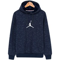 NIKE AIR JORDAN autumn and winter plus velvet hooded men's casual sports pullover sweater Blue