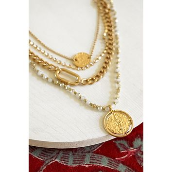 Layered Necklace with a Coin